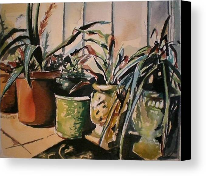 Potted Plants Canvas Print featuring the painting At The Doorstep by Aleksandra Buha