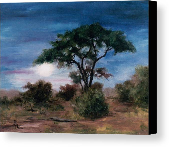 Moon Canvas Print featuring the painting African Moon by Brenda Thour