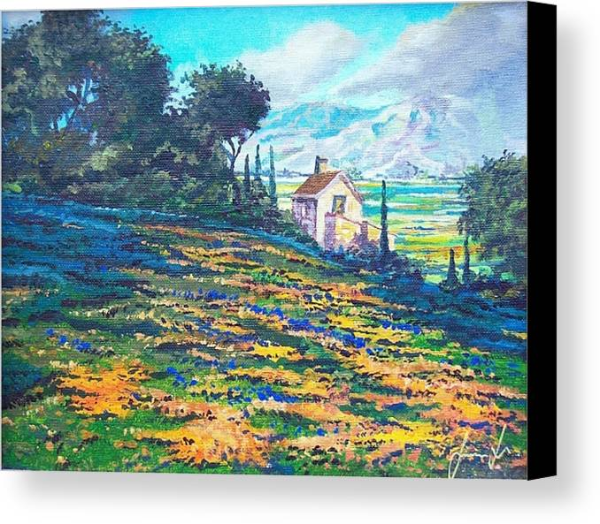 Flower Hill Canvas Print featuring the painting Flower Hill by Sinisa Saratlic