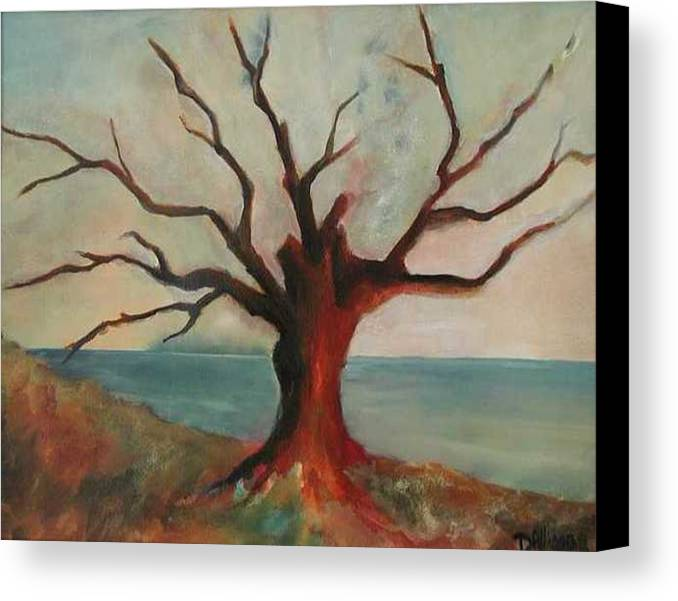 Oak Tree Inspired By Katrina Damage Along The Coast Canvas Print featuring the painting Lone Oak - Gulf Coast by Deborah Allison