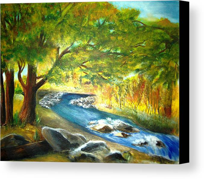 Landscape Canvas Print featuring the painting Running Waters by Vivian Mosley