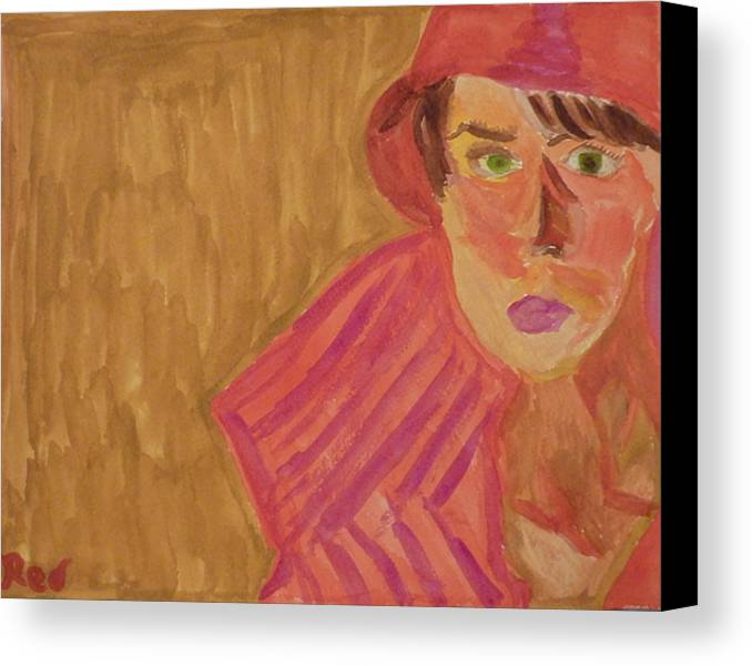 Woman Canvas Print featuring the painting The Woman In Red by Joshua Redman