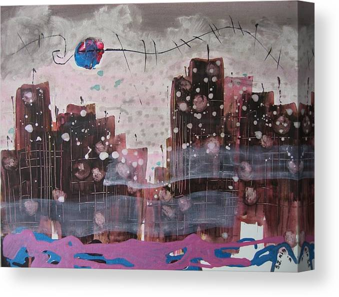 Brown Paintings Canvas Print featuring the painting Cityscape by Seon-Jeong Kim