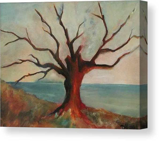 Oak Tree Inspired By Katrina Damage Along The Coast Canvas Print featuring the painting Lone Oak - Gulf Coast by Deborah Allison