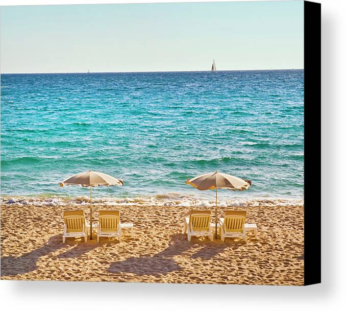 Horizontal Canvas Print featuring the photograph La Croisette Beach, Cannes, Cote D'azur, France by John Harper