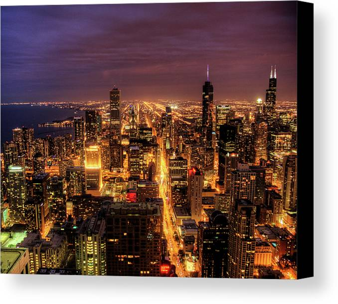 Horizontal Canvas Print featuring the photograph Night Cityscape Of Chicago by Jacob D. Moore