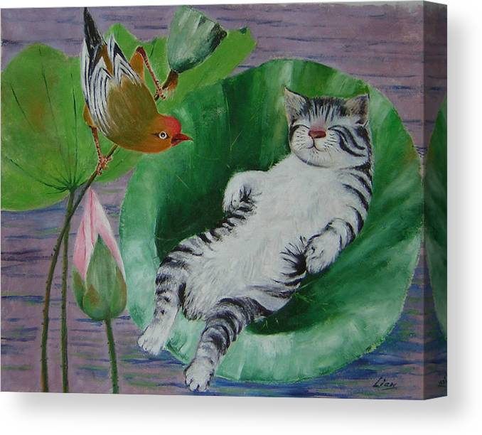 Fantasy Canvas Print featuring the painting Sleeping Kitten by Lian Zhen