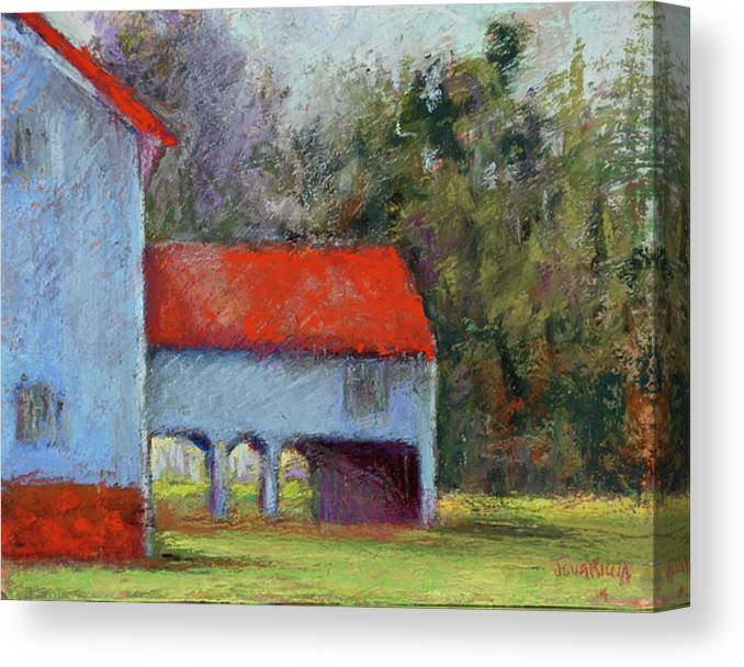 Barn Structures In State Park Canvas Print featuring the pastel Vanderbilt Park by Joyce A Guariglia