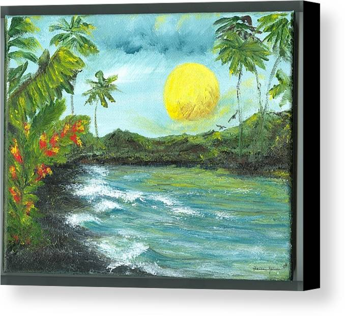 Beachscape Canvas Print featuring the painting Kona Sunrise by Laura Johnson