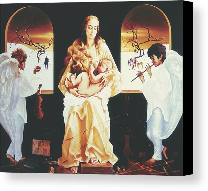 Figures Canvas Print featuring the painting Madona 2000 by Andrej Vystropov