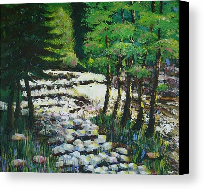 Waterfall Canvas Print featuring the painting Sunlit Waterfall by Art Nomad Sandra Hansen