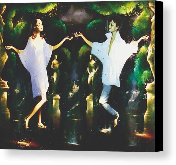 Figures Canvas Print featuring the painting Rain Through Sunshine by Andrej Vystropov