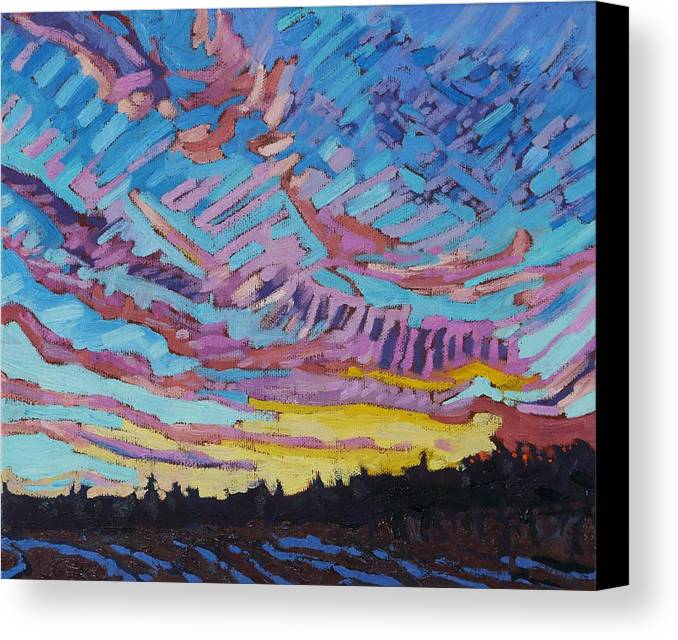 1906 Canvas Print featuring the painting Sunrise Freezing Rain Deformation Zone by Phil Chadwick
