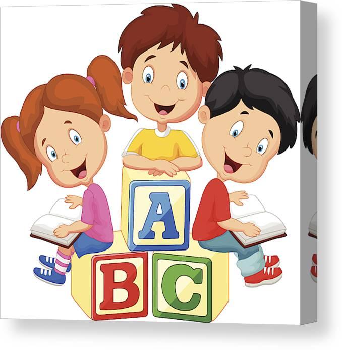 Cartoon Children Sitting On Alphabet Blocks And Reading Canvas Print