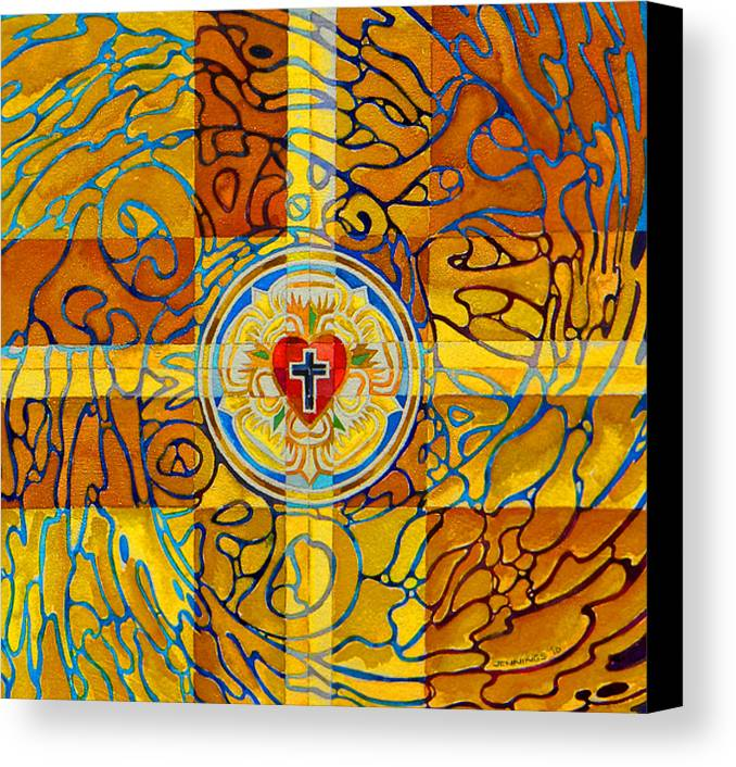 Christian Canvas Print featuring the painting Psychedelic Rose by Mark Jennings