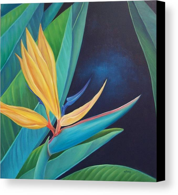 Flower Canvas Print featuring the painting Bird Of Paradise by Elsa Gallegos