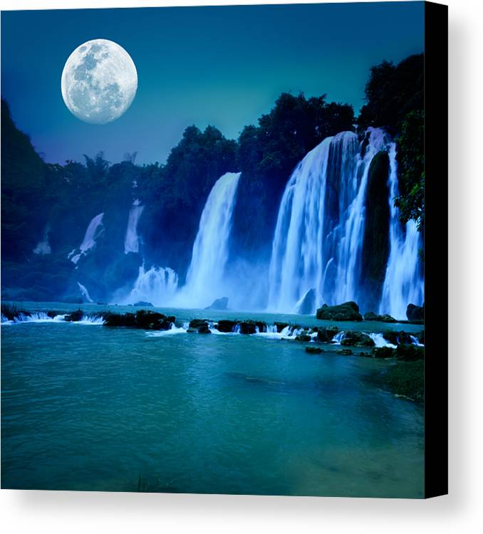 Forest Canvas Print featuring the photograph Waterfall by MotHaiBaPhoto Prints