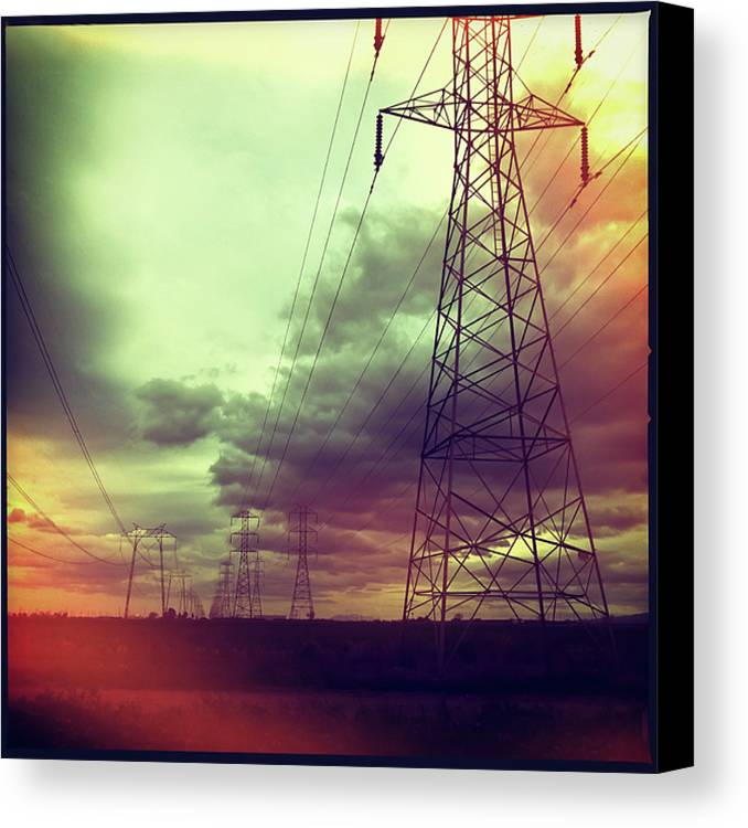 Square Canvas Print featuring the photograph Electricity Pylons by Mardis Coers
