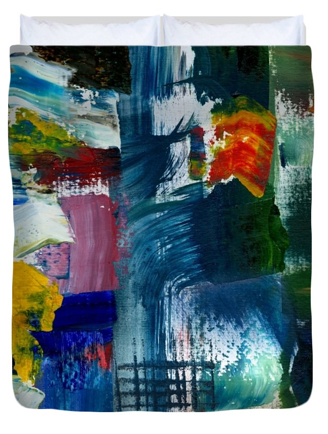 Abstract Collage Duvet Cover featuring the painting Abstract Color Relationships L by Michelle Calkins