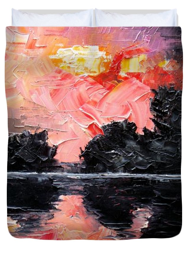 Lake After Storm Duvet Cover featuring the painting Sunset. After Storm. by Sergey Bezhinets
