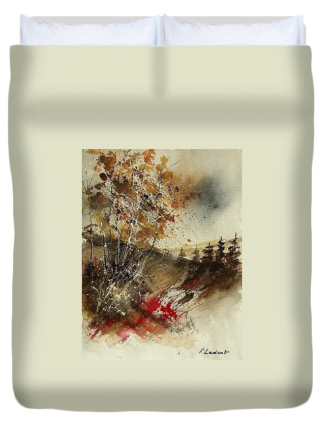 Tree Duvet Cover featuring the painting Watercolor 903052 by Pol Ledent