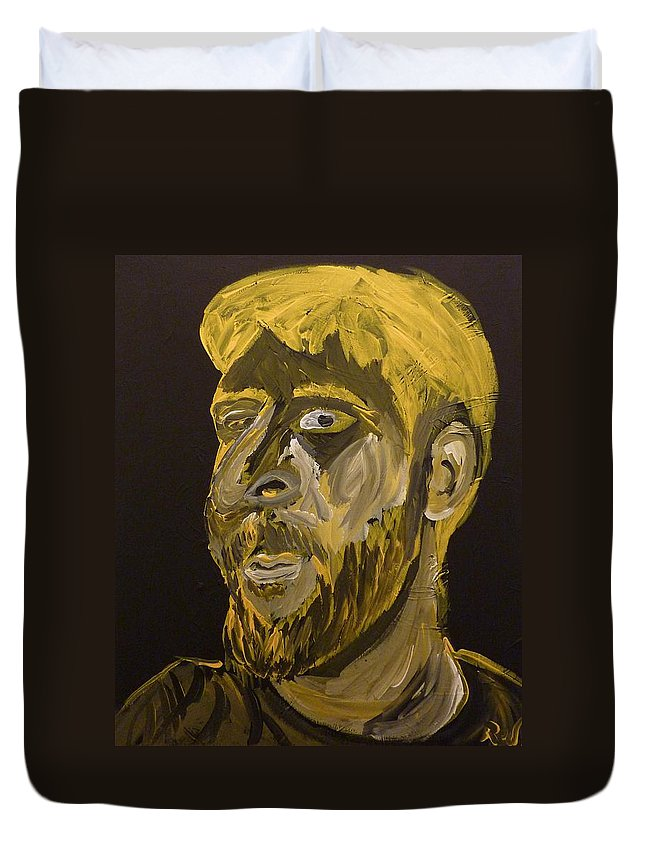 Self Duvet Cover featuring the painting Self Portrait by Joshua Redman