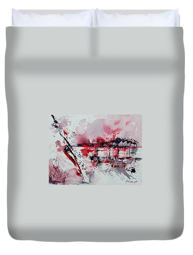 Abstract Duvet Cover featuring the painting Abstract 12 by Pol Ledent