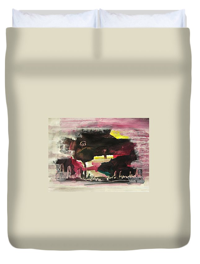 Dusk Paintings Duvet Cover featuring the painting Abstract Twilight Landscape71 by Seon-Jeong Kim