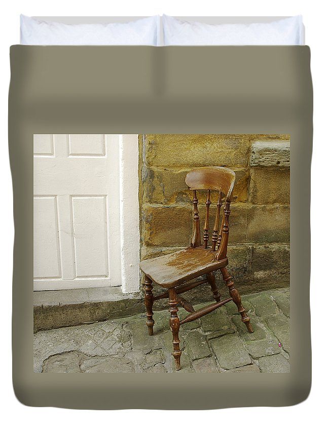 Chair Duvet Cover featuring the photograph Chair And The Door by Cliff Norton