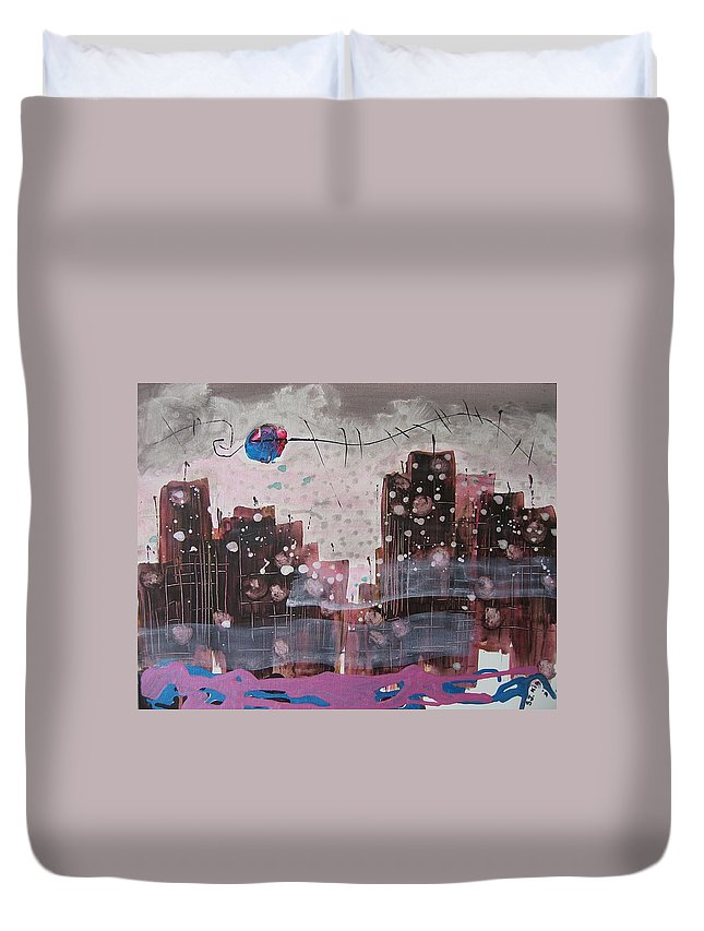 Brown Paintings Duvet Cover featuring the painting Cityscape by Seon-Jeong Kim
