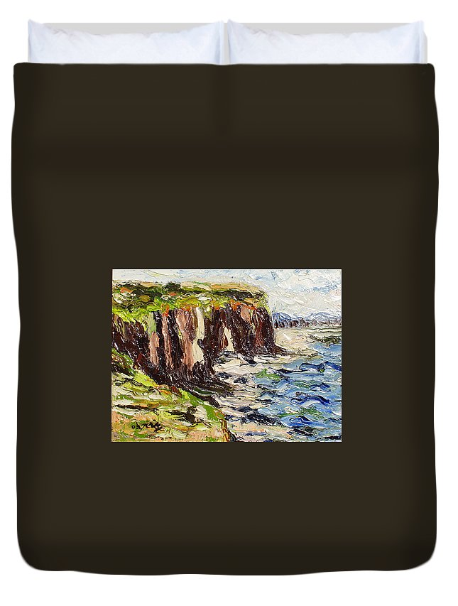 Abstract Paintings Duvet Cover featuring the painting Cliff by Seon-Jeong Kim