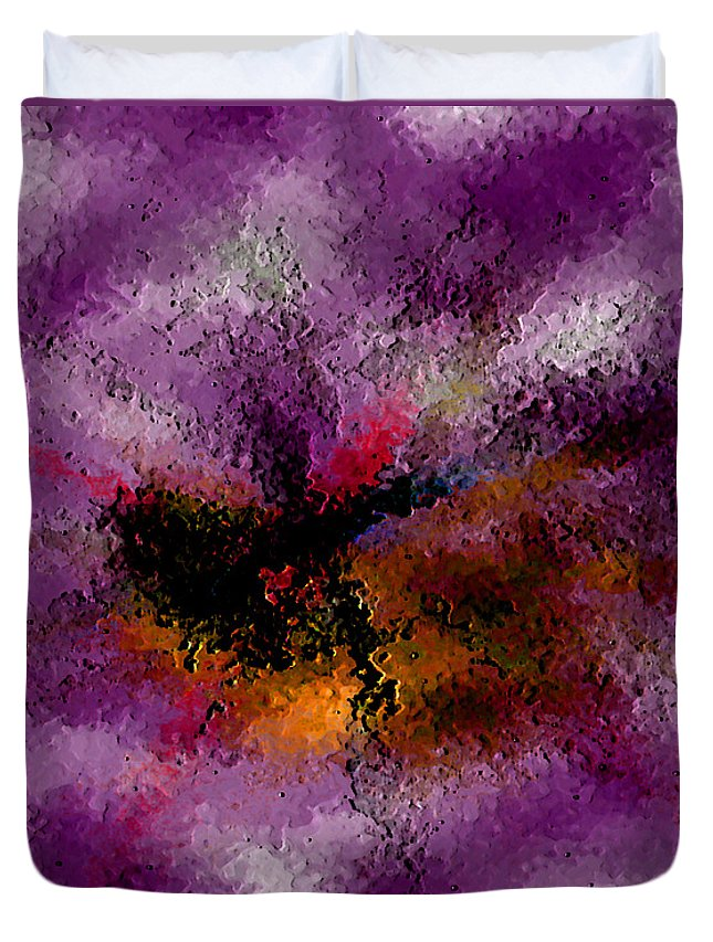 Abstract Duvet Cover featuring the digital art Damaged But Not Broken by Ruth Palmer