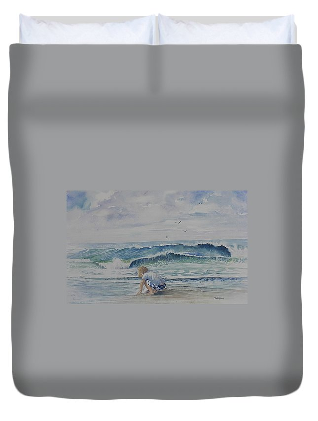 Ocean Duvet Cover featuring the painting Finding Sand Crabs by Tom Harris