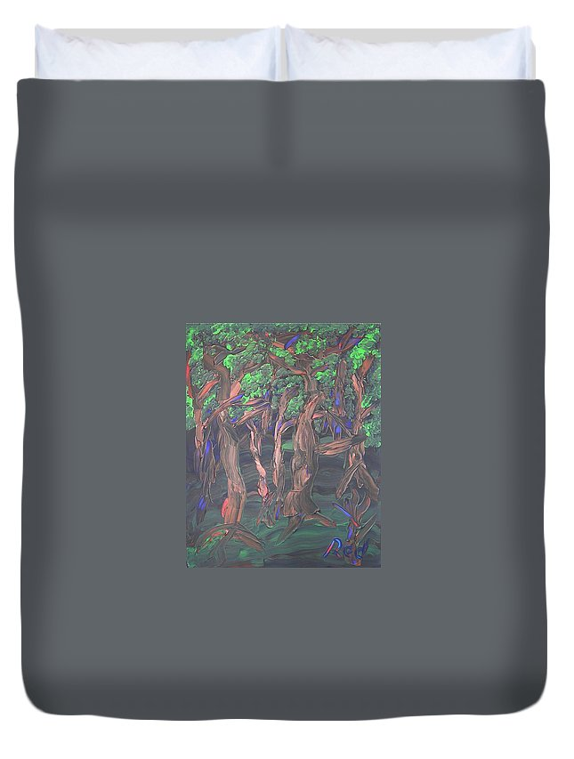Forest Duvet Cover featuring the painting Forest by Joshua Redman
