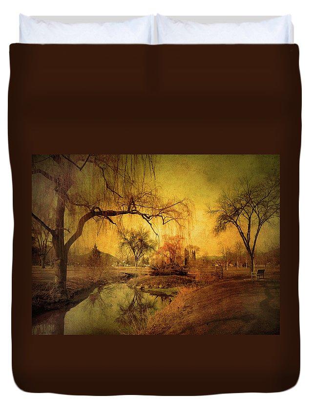 Skaha Park Duvet Cover featuring the photograph Golden Winter Days by Tara Turner