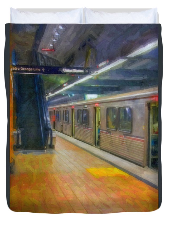 Metro Red Line - Hollywood - Vine Subway Station - Los Angeles Duvet Cover featuring the photograph Hollywood Subway Station by David Zanzinger