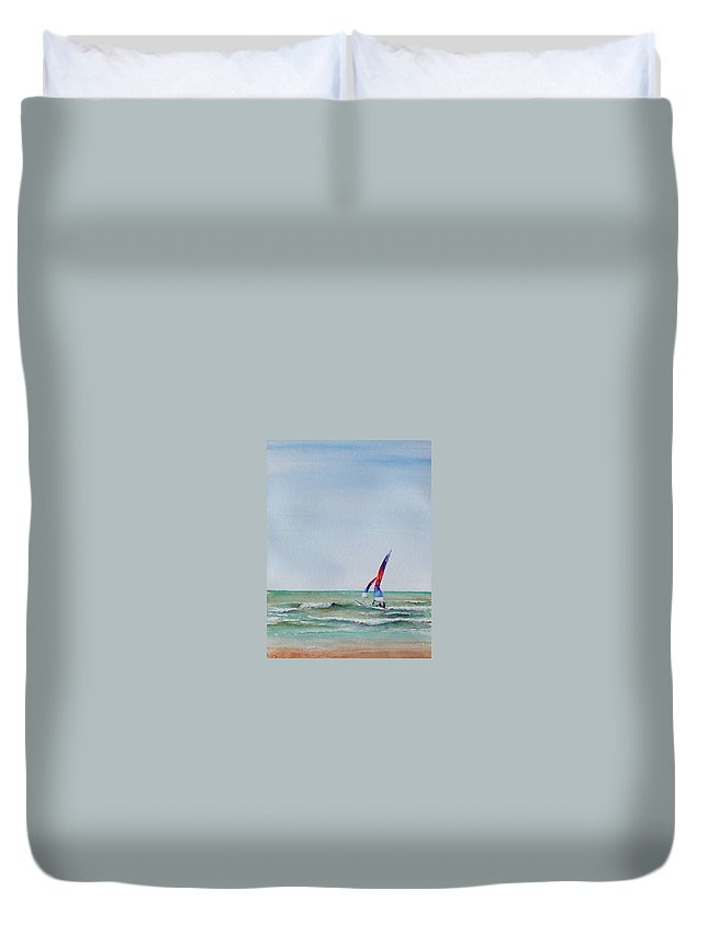 Boat Duvet Cover featuring the painting Ipperwash Beach by Patricia Henderson