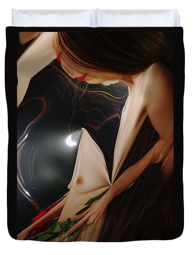Female Nude Abstract Mirrors Flowers Photographs Duvet Cover featuring the photograph Kazi1193 by Henry Butz
