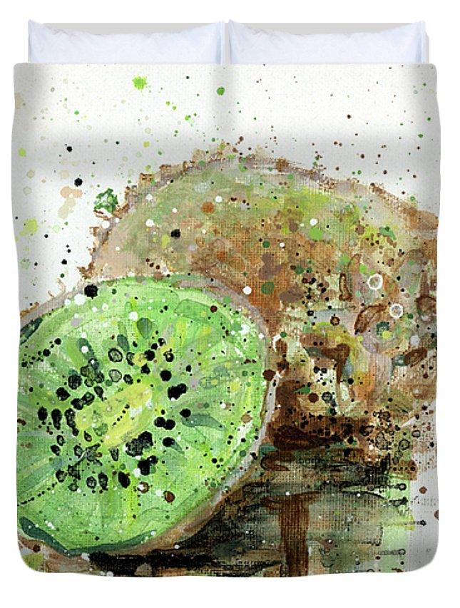 Kiwi Duvet Cover featuring the painting Kiwi 1 by Arleana Holtzmann
