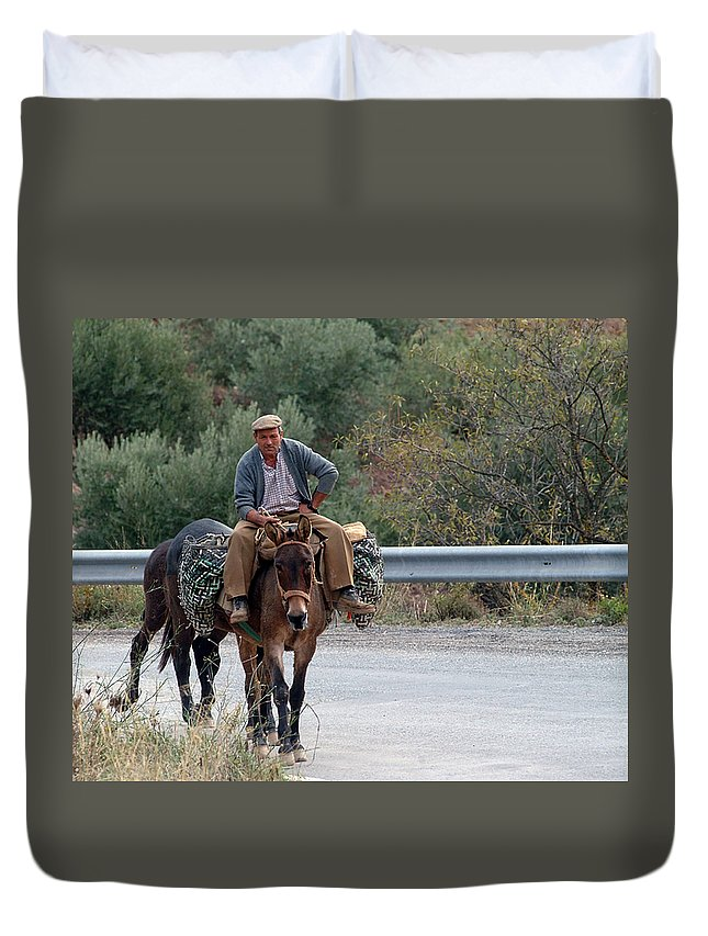 Donkey Duvet Cover featuring the photograph Local Travells By Donkey by Cliff Norton