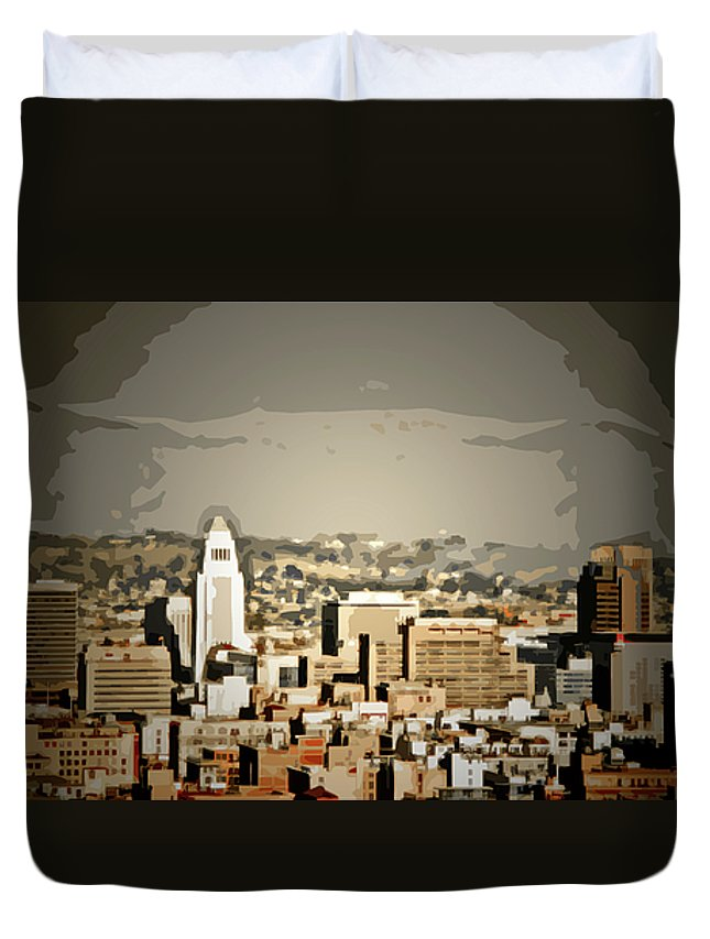 La City Hall Duvet Cover featuring the digital art Los Angeles City Hall by Chris Brannen