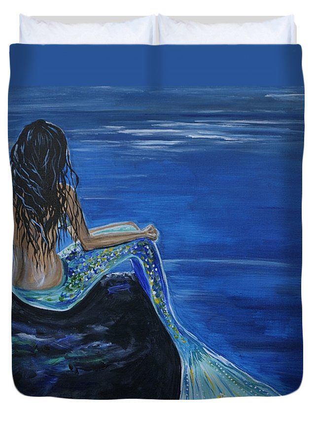 Mermaid Duvet Cover featuring the painting Mermaid Enchantment by Leslie Allen