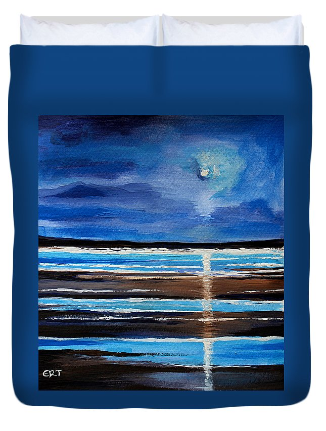 Beach Duvet Cover featuring the painting Midnight At The Beach by Elizabeth Robinette Tyndall