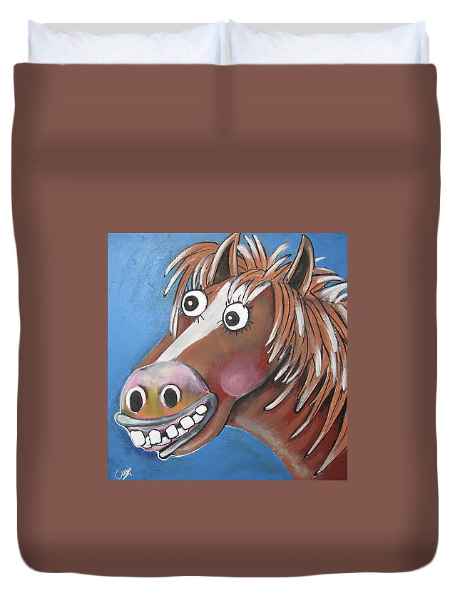 Caroline Peacock Duvet Cover featuring the painting Mr Horse by Caroline Peacock