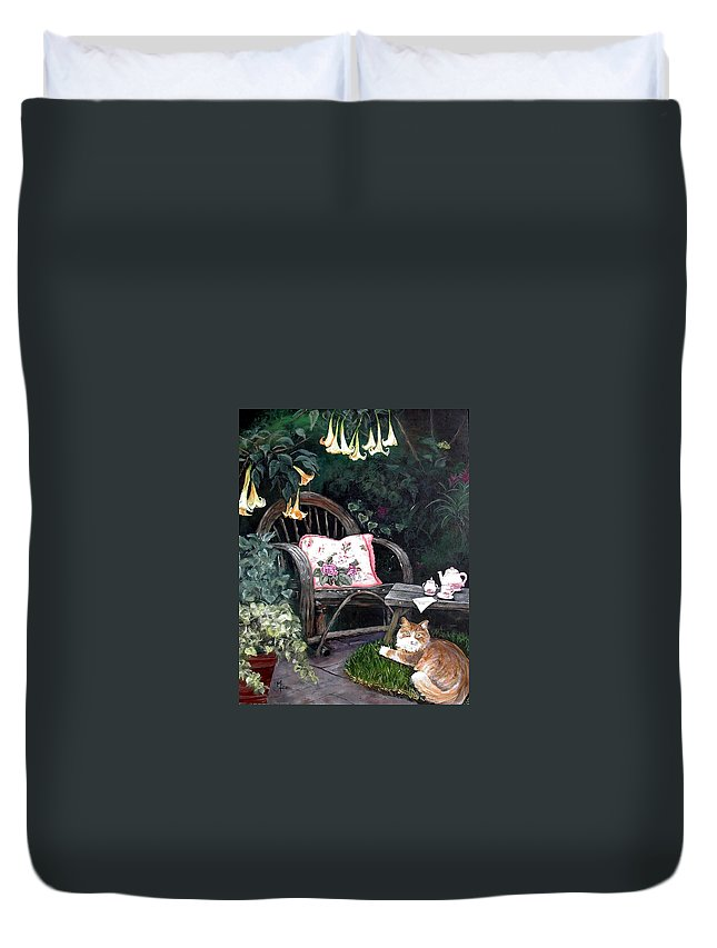Charity Duvet Cover featuring the painting My Secret Garden by Mary-Lee Sanders