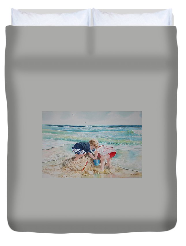 Beach Duvet Cover featuring the painting Saving The Sand Castle From The Tide by Tom Harris