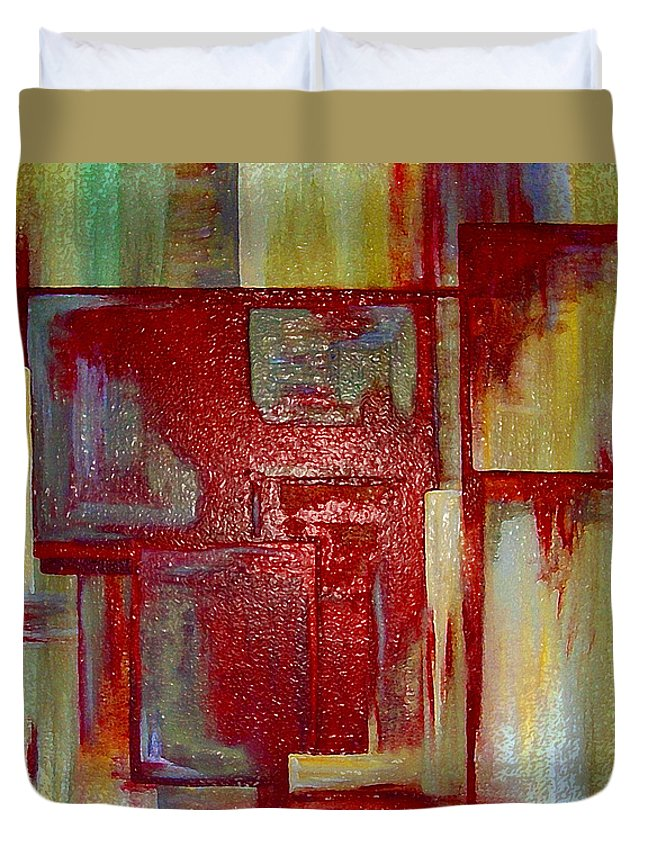 Abstract Duvet Cover featuring the digital art Sections Revisited by Ruth Palmer