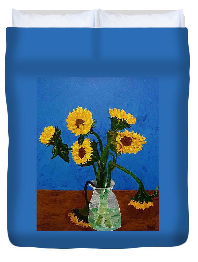 Sunflower Duvet Cover featuring the painting Seven Sunflowers In Vase by Joshua Redman