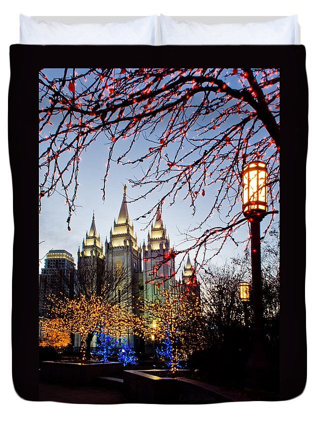 Temple Duvet Cover featuring the photograph Slc Temple Lights Lamp by La Rae Roberts