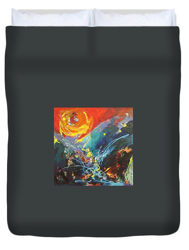 Abstract Paintings Duvet Cover featuring the painting The Narrows by Seon-Jeong Kim